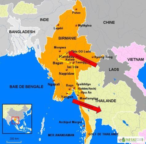 Carte myanmar trajet